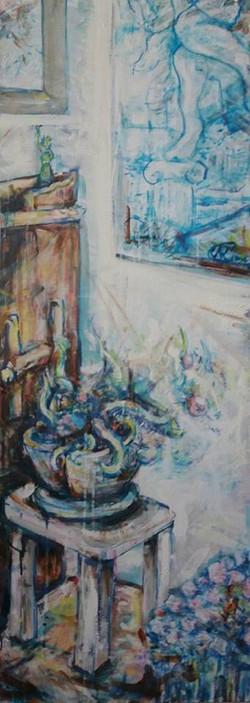 Rincon de mi casa con planta y cuadro III