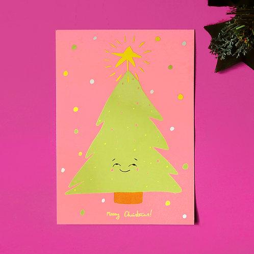 Happy Christmas Tree Pink Greeting Card