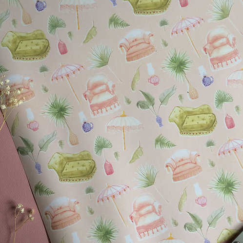 Vintage Interior Wrapping Paper