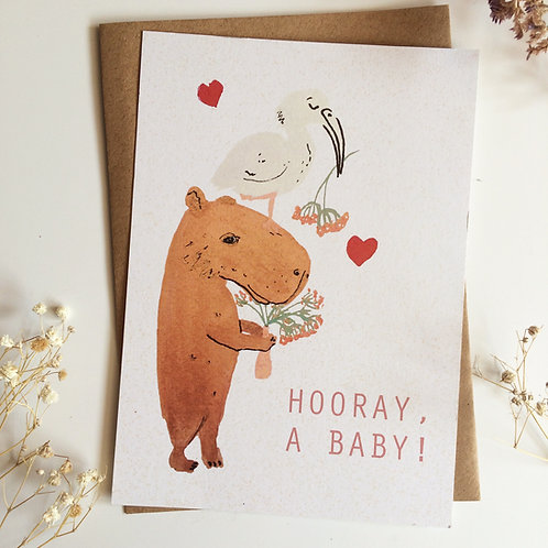 Capybara Baby (EN) Greeting Card
