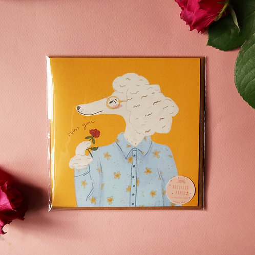 Miss You Poodle Greeting Card