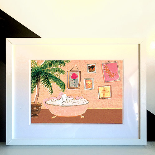 Poodle Takes a Bath Art Print