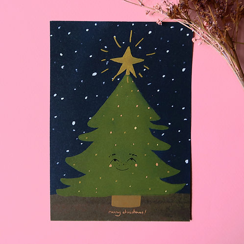 Happy Christmas Tree on a Starry Night Greeting Card