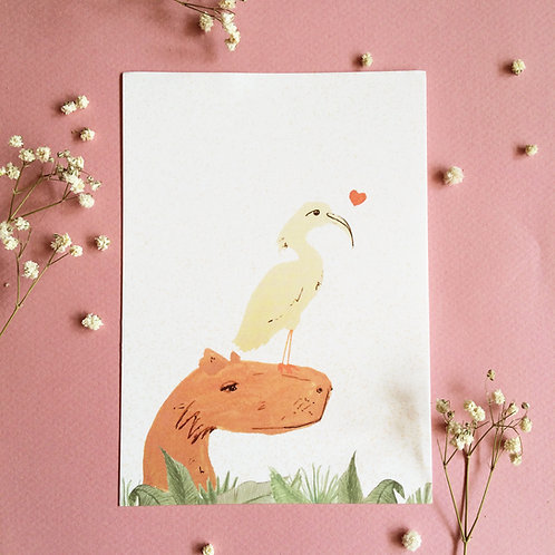 Capybara Jungle Greeting Card