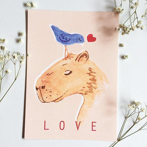 Capybara & Bird Friend Greeting Card