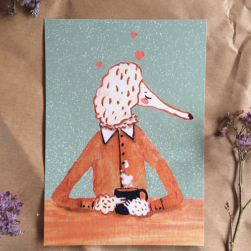 Mr. Poodle Drinking Coffee Greeting Card