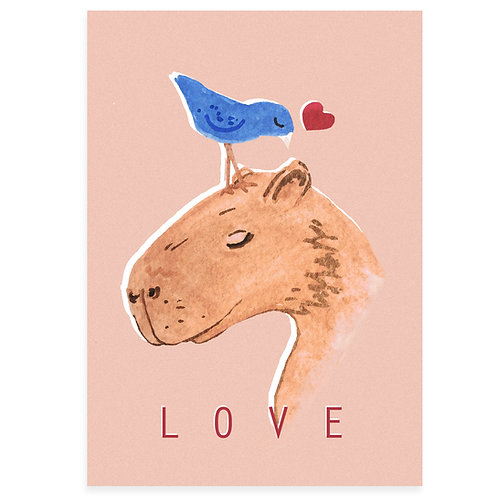 Capybara 'Love' Art Print