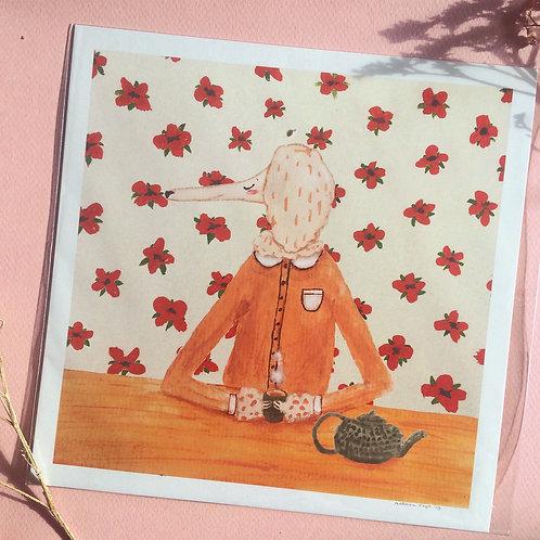 Mrs. Poodle Drinking Tea Art Print