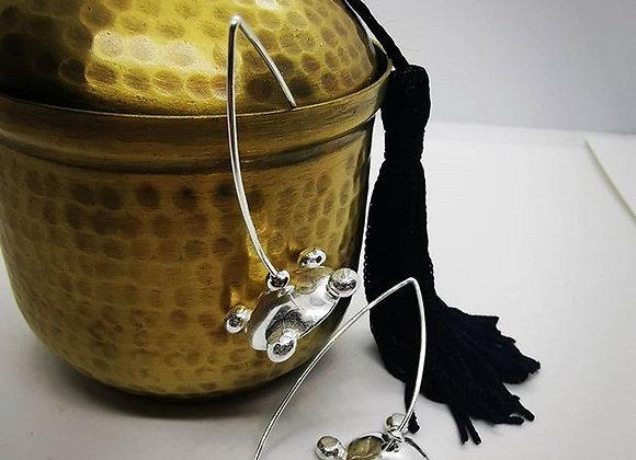 Spinner Dot Domed Sterling Silver Earrings