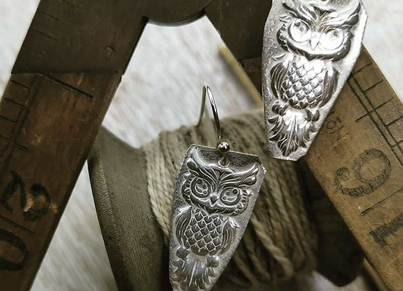 Wise Owl Sterling Silver Earrings