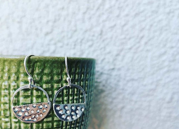 Half Circle Geometric Sterling Silver Earrings