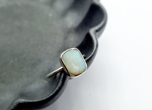 Sterling Silver & Opal Ring ( Size O 1/2)