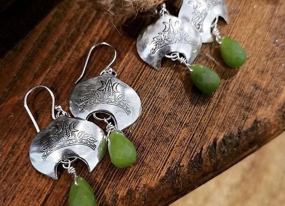 Moonlight Crown Sterling Silver & Jade Earrings