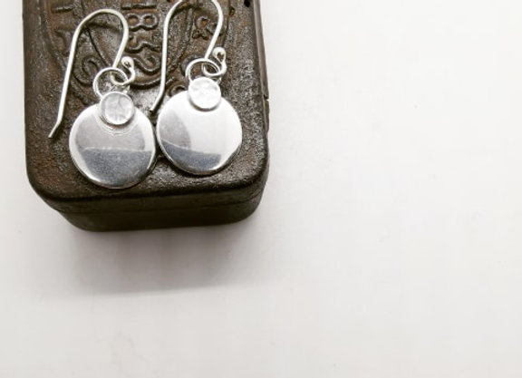 Double Disc Sterling Silver Drops