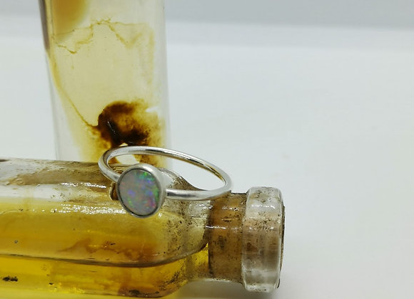 Sterling Silver & Opal Ring ( Size S)
