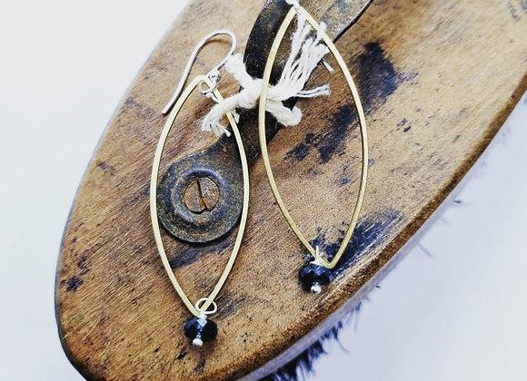 Natural Teal Kyanite & Brass Earrings