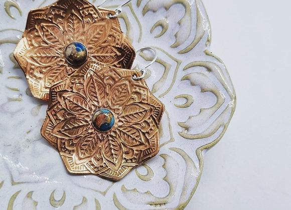 Copper Mandala Earrings
