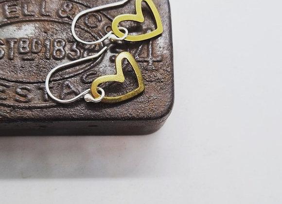 Sweet Heart Brass Earrings