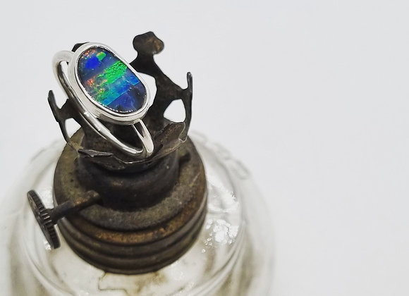 Sterling Silver & Opal Ring ( Size M 1/2)
