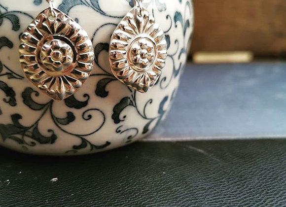 Floral Sterling Silver Drop Earrings