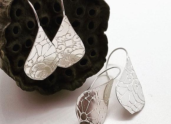 Textured Tear Drop Sterling Silver Earrings