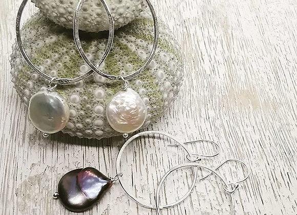 Classy Coin Pearl Earrings