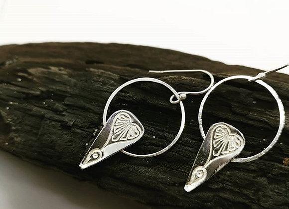 Heart Drop Sterling Silver Hoops