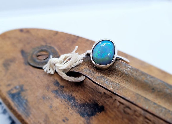 Sterling Silver & Opal Ring ( Size P )