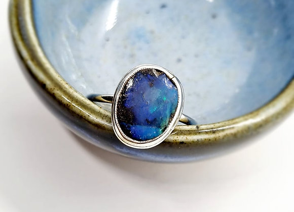 Sterling Silver & Opal Ring ( Size O)