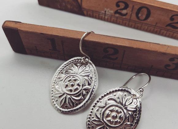Boho Oval Sterling Silver Drop Earrings