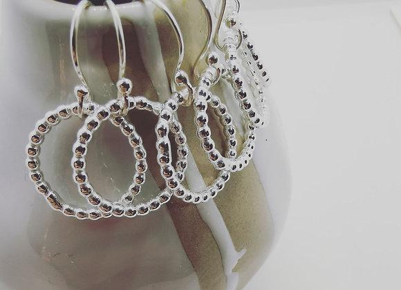 Dots In A Row Sterling Silver Earrings