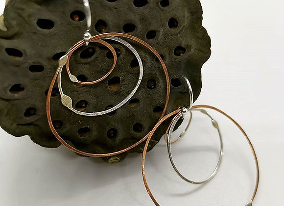 Copper & Sterling Silver Hoops