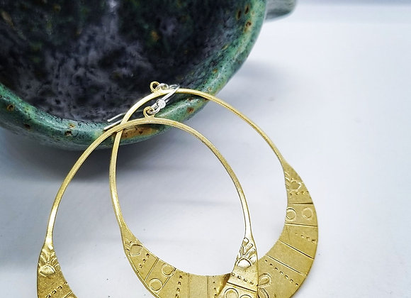 Boho hand stamped brass earrings