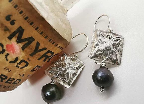 Black freshwater pearl and sterling silver drop earrings