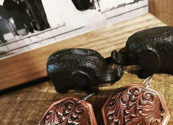 Vintage Scroll Copper Earrings