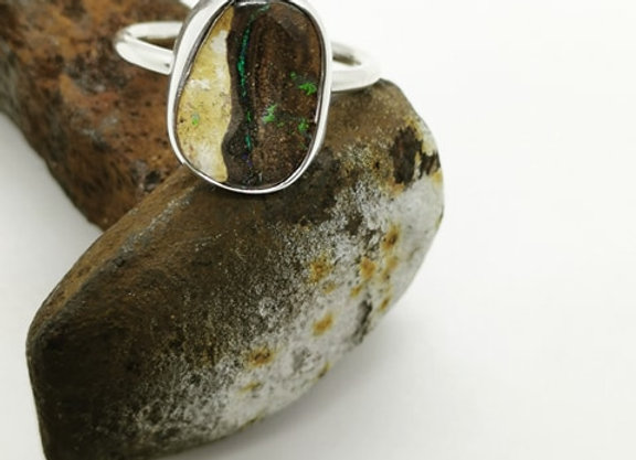 Sterling Silver & Opal Ring ( Size R)