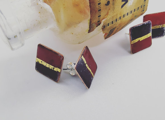 Oriental Red and Black Enamel Studs