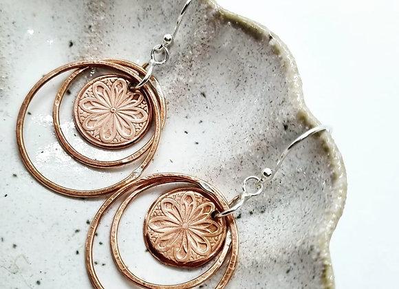 Copper Flower In Double Hoop