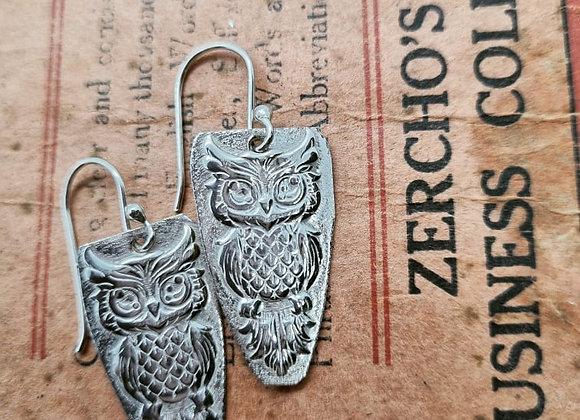 Wise Owl Sterling Silver Earrings