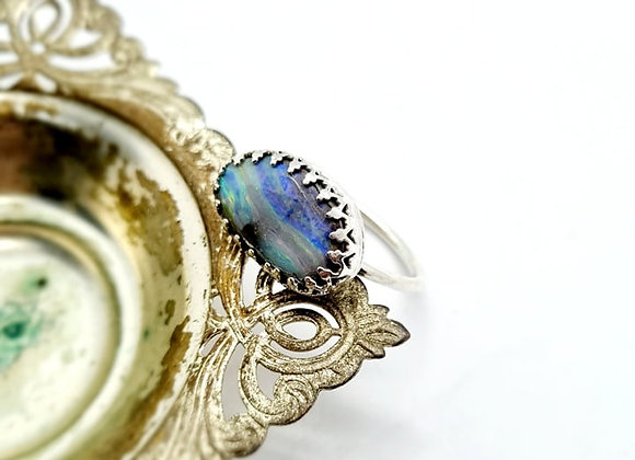 Sterling Silver & Opal Ring ( Size P)