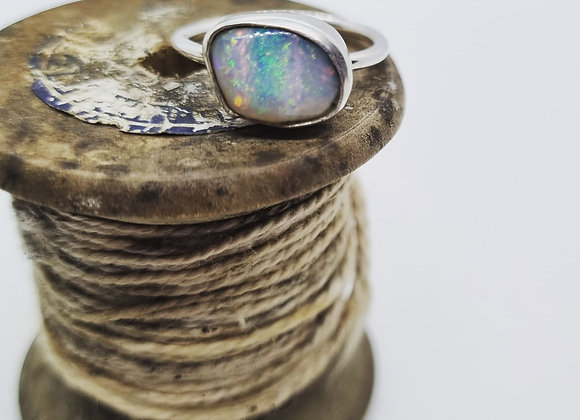 Sterling Silver & Opal Ring ( Size N 1/2)