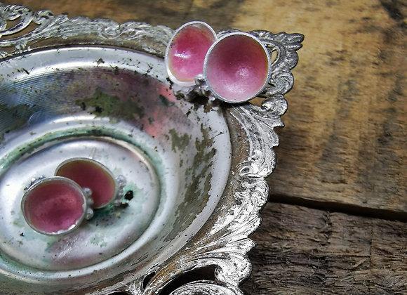 Trio Dot Sterling Silver & Opalescent Red Enamel Studs