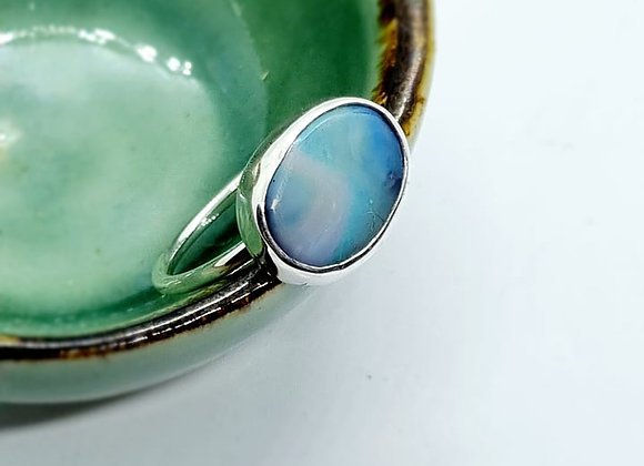 Sterling Silver & Opal Ring ( Size P 1/2)