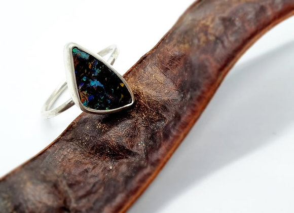 Sterling Silver & Opal Ring ( Size R 1/2)