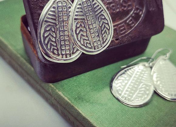 Drop Sterling Silver Shield Earrings.