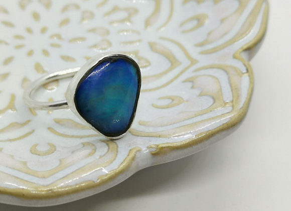 Sterling Silver & Opal Ring ( Size Q)
