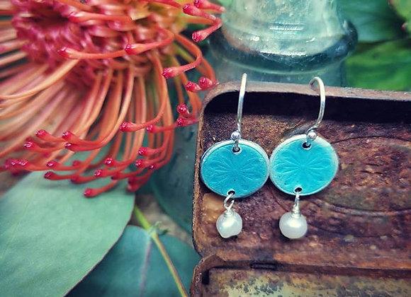 Enamel & freshwater pearl drop earrings