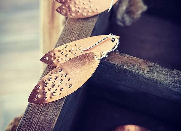 Copper Leaf & Sterling Silver Earrings