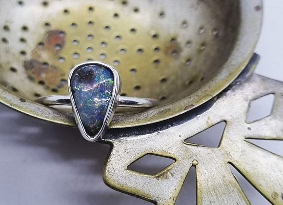 Sterling Silver & Opal Ring ( Size N)