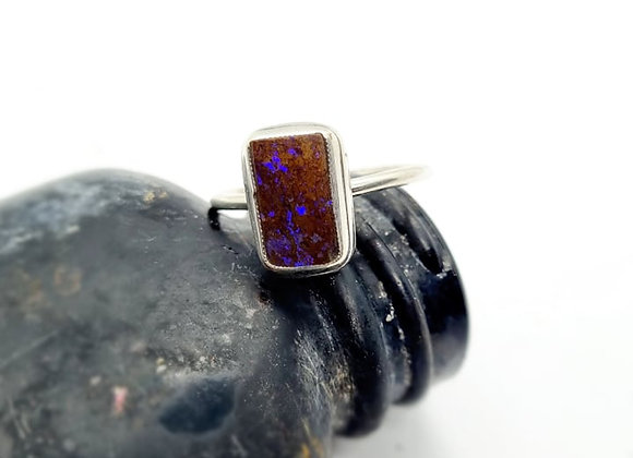 Sterling Silver & Opal Ring ( Size Q 1/2)